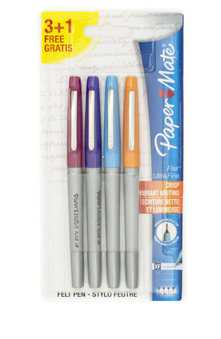 Paper Mate Flair Ultra Fine Tip Orange, Turquoise, Purple and Magenta Felt Tip Pens Non Smear