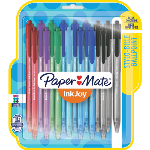 Paper Mate Inkjoy 100RT Assorted Colors Retractable Ballpoint Pens, Pack of 16