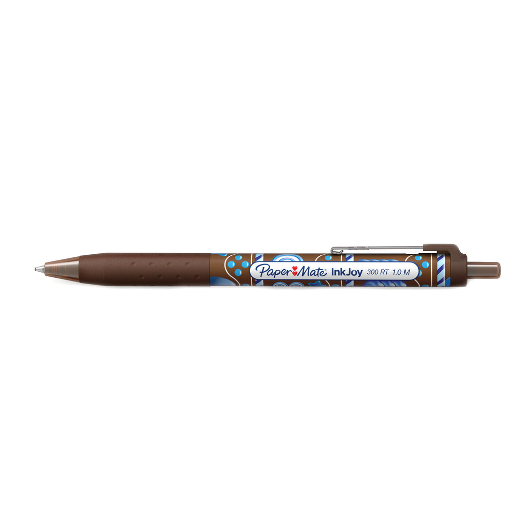 Paper Mate Inkjoy Candy Pop Brown 300 RT Retractable Ballpoint Pen Medium 1.0 MM ( Brown Ink)  Paper Mate Ballpoint Pen