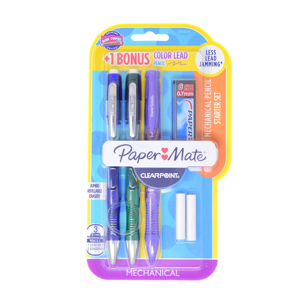 Paper Mate ClearPoint Elite 0.7mm HB Mechanical Pencils with Jumbo Eraser, 6 Extra Leads, 2 Extra Erasers and Bonus Colored Purple Pencil
