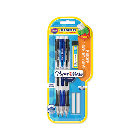 Paper Mate ClearPoint Pencils 0.7mm HB Pack of 3 + 2 Extra Erasers, 6 Extra Leads