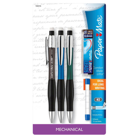 Paper Mate Comfort Mate Ultra Mechanical Pencil 0.5mm Pack Of 3 + Leads, Eraser Refills Ideal for Long Writing  Paper Mate Pencil