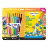 Paper Mate Flair Felt Tip Pens 16 Count Assorted Multi Color, with Post Card Coloring Booklet
