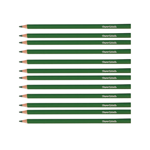 Paper Mate Green Colored Pencils Pack of 12 (Writes Green)  Paper Mate Pencils