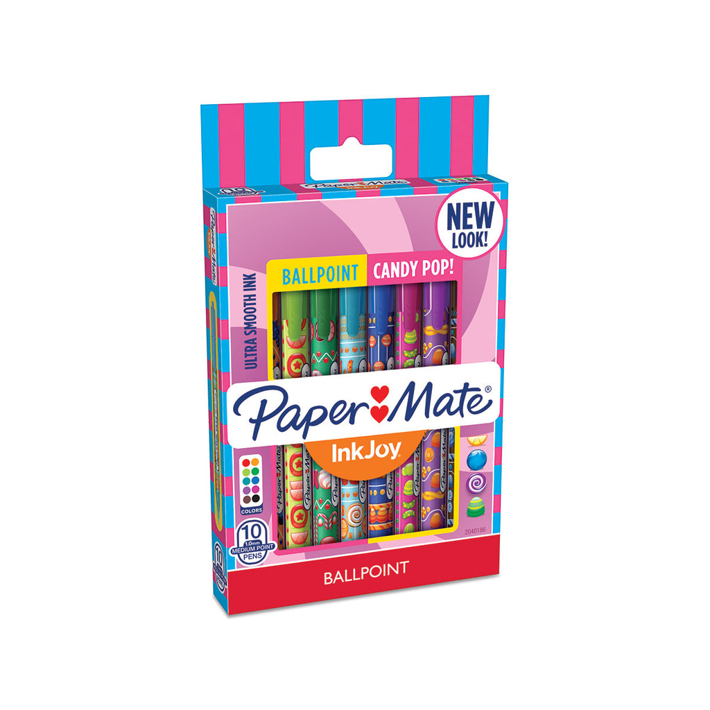 Paper Mate Inkjoy Candy Pop 100 RT Assorted Colors 10 Count, Medium  Paper Mate Ballpoint Pen