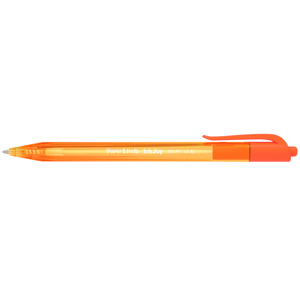 Paper Mate Inkjoy 100RT Retractable Orange Ballpoint Pen, Medium 1.0mm  Paper Mate Ballpoint Pen