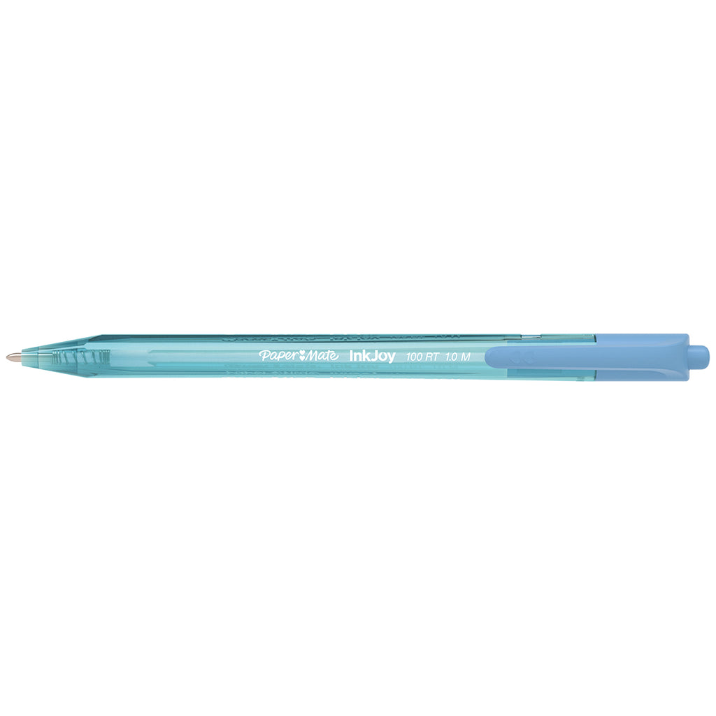 Paper Mate Inkjoy 100RT Retractable Turquoise Ballpoint Pen, Medium 1.0mm  Paper Mate Ballpoint Pen