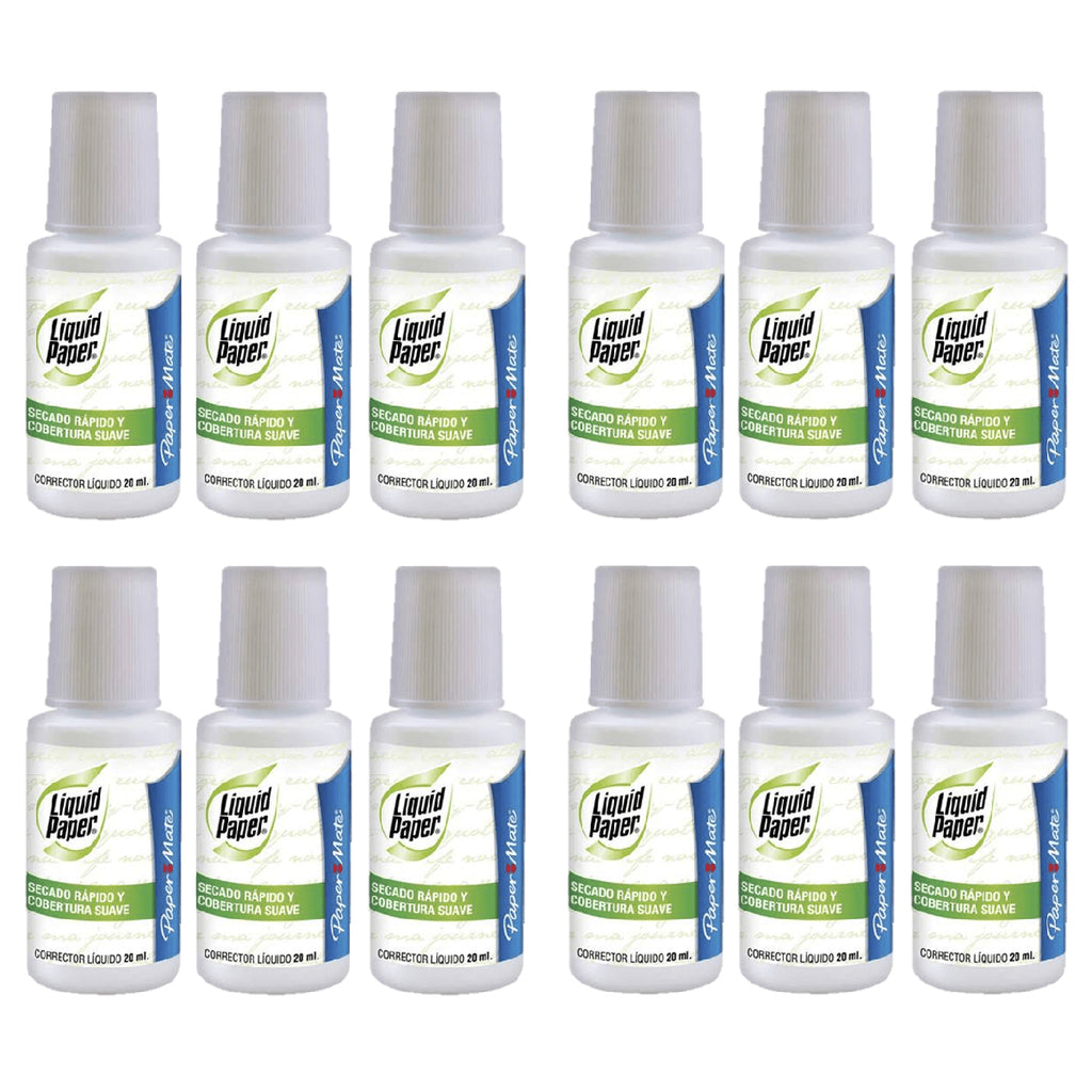 Paper Mate Liquid Paper Fast Dry, Brush Applicator  Classic White Out 20 ML Pack of 12