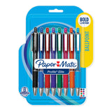 Paper Mate Profile Elite Retractable Ballpoint Pens 1.4 Bold 8 Assorted Colors  Paper Mate Ballpoint Pen