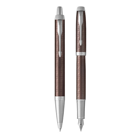 Parker IM Premium Brown Fountain Pen and Ballpoint Pen Set  Parker Fountain Pens