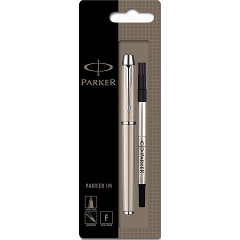 Parker IM Brushed Stainless Steel Rollerball Pen Black Ink  Parker Rollerball Pens