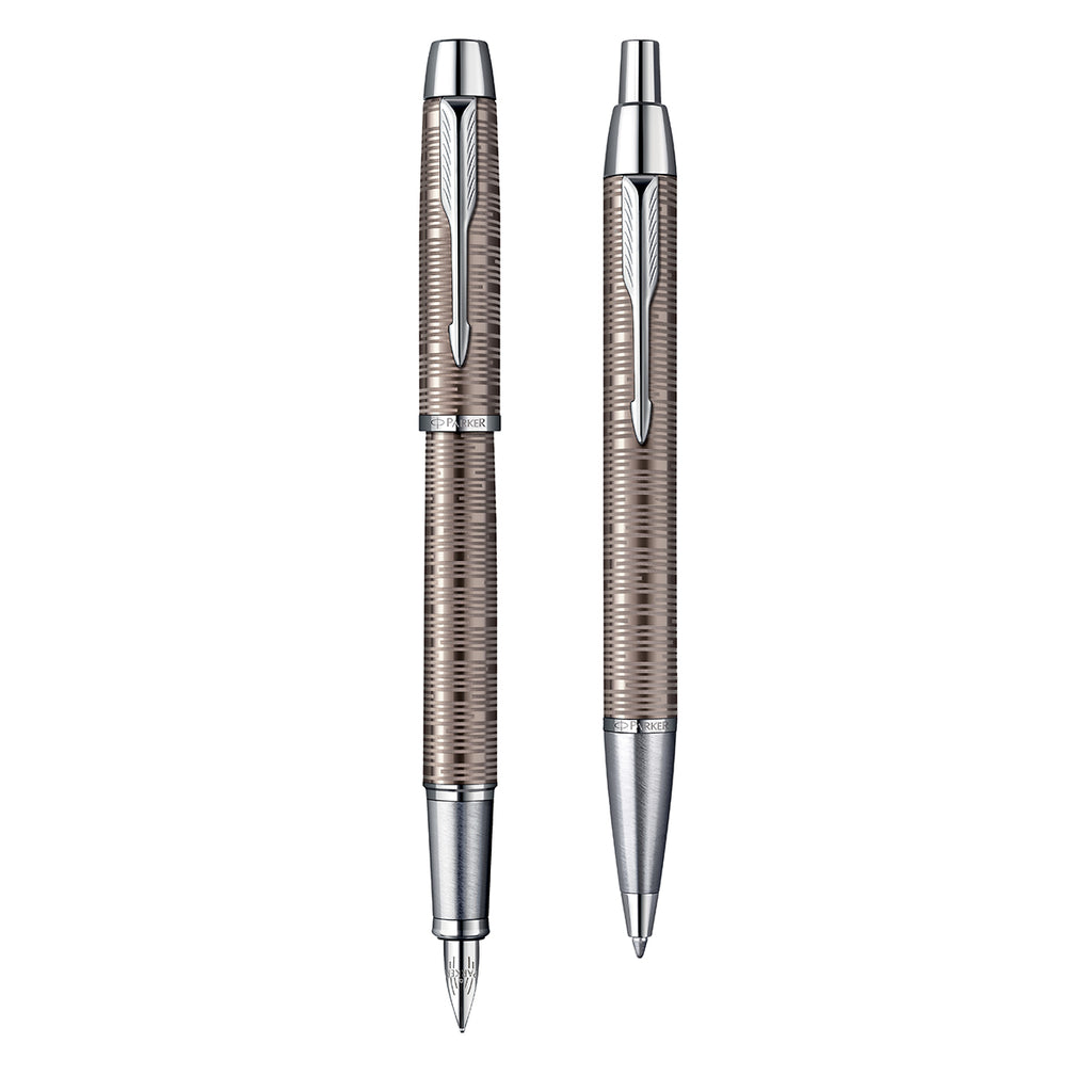 Parker IM Premium Brown Shadow Fountain Pen and Ballpoint Pen Set