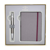 Parker IM Dark Gun Metal, Chiselled , Chrome Trim Ballpoint Pen, with Parker Notebook and Oversized Parker Gift Box