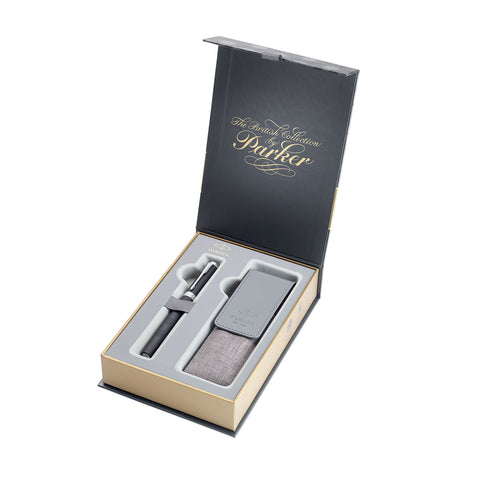 Parker Ingenuity Black Rubber CT 5TH Technology Pen Black Fine Ink with Pen Pouch Gift Set  Parker Parker 5TH
