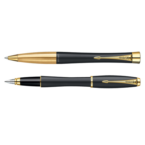 Parker Urban Matte Black Gold Trim Medium Fountain Pen and Ballpoint Pen Set