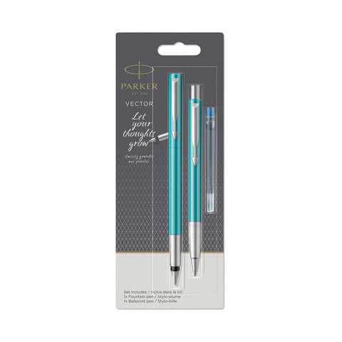 Parker Vector Fountain Pen and Ballpoint Set, Teal Blue  Parker Fountain Pens