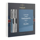 Parker Jotter London 2 Pen Gift Set with Notepad, Waterloo Blue and Stainless Steel  Parker Ballpoint Pen