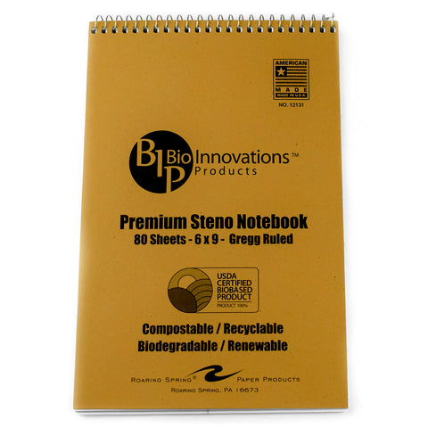 Bio Innovations Premium Steno Gregg Ruled Notebook 80 Sheets