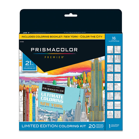 Prismacolor Premier Soft Core Pencils Adult Coloring Book Kit, NYC Souvenir, 20 Rich Color Pencils  Prismacolor Pencils
