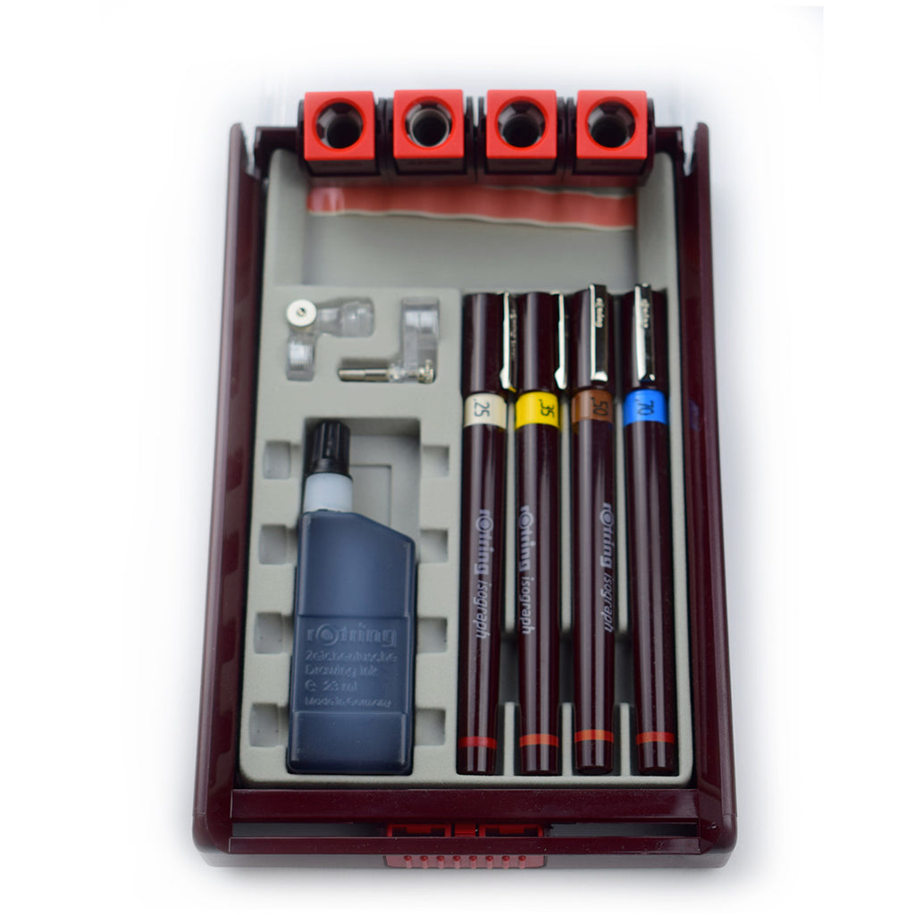 Rotring Isograph Set, 3 Technical Drawing Pens, .25, .35, .5,  and Ink Bottle with Pen Holders  Rotring Technical Drawing Pens