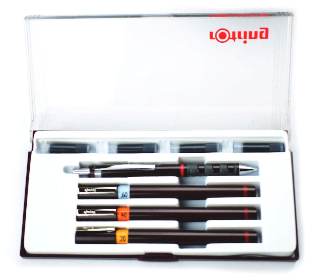 Rotring Isograph Junior Set, 3 Technical Drawing Pens, .60, .40, .20, Tikky .5 Mechanical Pencil,  and Ink S0699340  Rotring Technical Drawing Pens