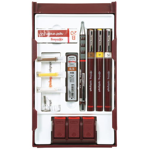 Rotring Rapidograph College Set, 3 Technical Drawing Pens .25, .35, .50, Tikky .5 Mechanical Pencil Eraser and Pen Station S0699530