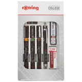 Rotring Rapidograph College Set, 3 Technical Drawing Pens, Tikky .5 Mechanical Pencil Eraser and Ink S0699510  Rotring Technical Drawing Pens