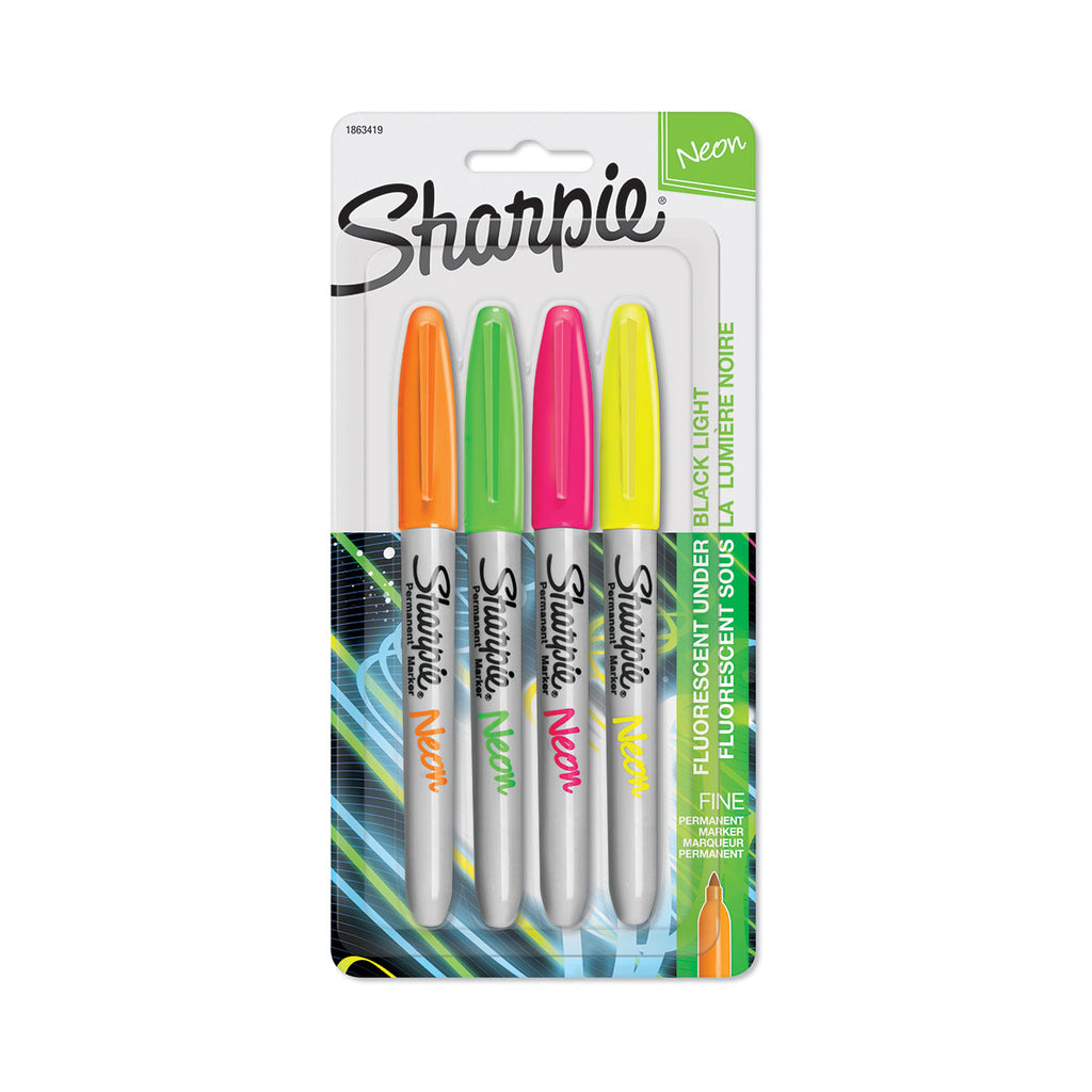 Neon Sharpie Markers Pack of 4, Yellow, Pink, Green, Orange  Sharpie Markers