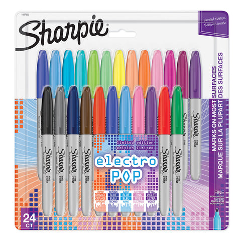 Sharpie Electro Pop Fine Point Markers, Assorted Colors, 24 Count  Sharpie Markers