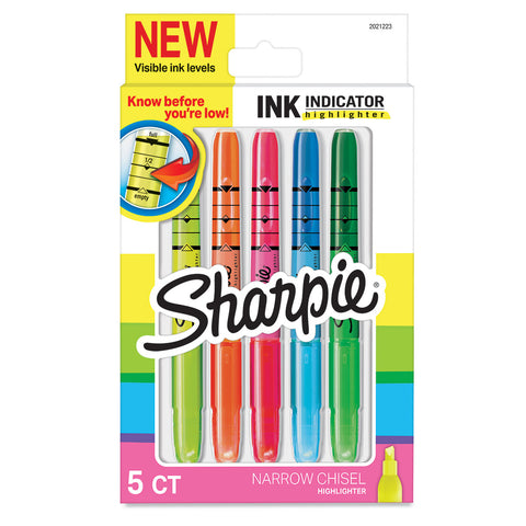 Sharpie Ink Indicator Highlighters Narrow Chisel Tip with Pocket Clip 5 Assorted Colors