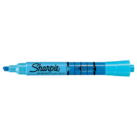 Sharpie Blue Highlighter Chisel Tip with Ink Indicator Tank  Sharpie Highlighter