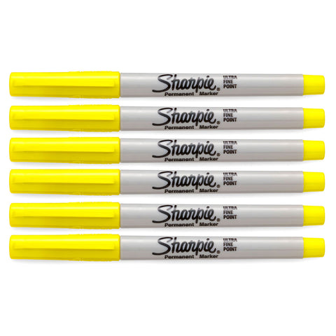 Sharpie Ultra Fine Point Yellow Permanent Markers Pack of 6
