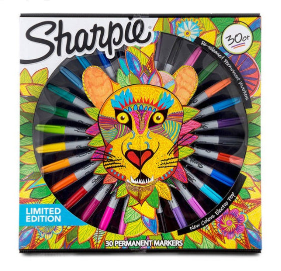 Sharpie Limited Edition Lion Box Permanent Markers Assorted Colors 30 Count 1952651  Sharpie Markers