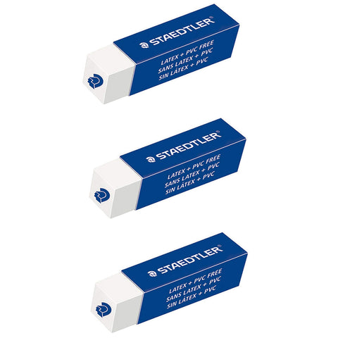 Staedtler Extruded Erasers Pack of 3 , Latex Free