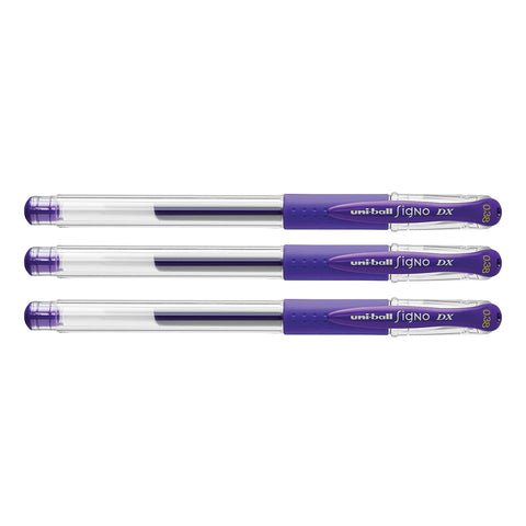 Uni Ball Signo DX 0.38 mm Purple Gel Pen Pack Of 3