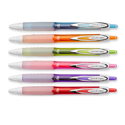 Uni Ball Signo 207 Retractable Gel Pens, 6 Assorted Colors, Red, Pink, Lime, Orange, Light Blue and Purple 0.7mm Medium  Uni-Ball Gel Ink Pens
