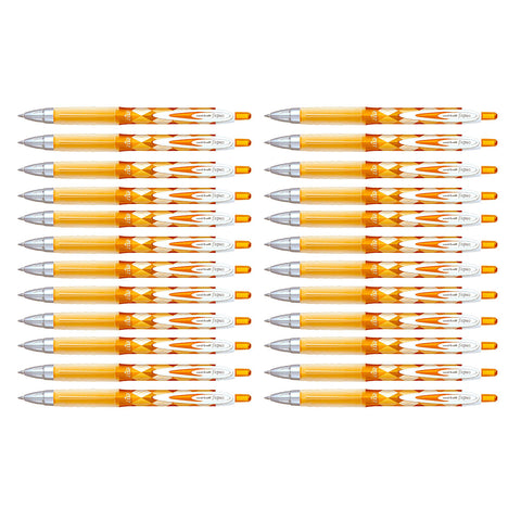 Uni Ball Signo 207 Orange Gel Pen Medium 0.7mm Retractable Argyle Design Bulk Pack of 24 Pens