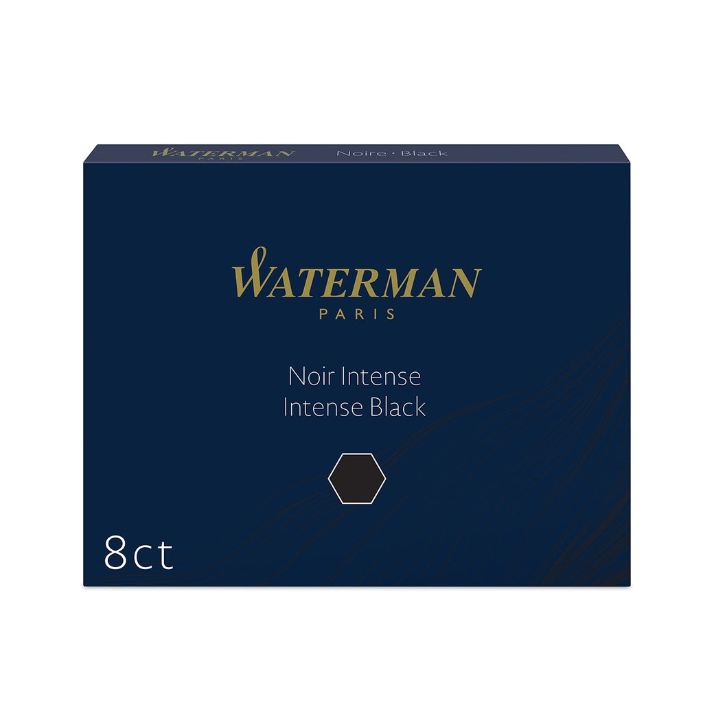 Waterman Black Ink Fountain Pen Ink Cartridges , Intense Black 8 Standard Long Cartridges  Waterman Fountain Pen Ink Cartridges