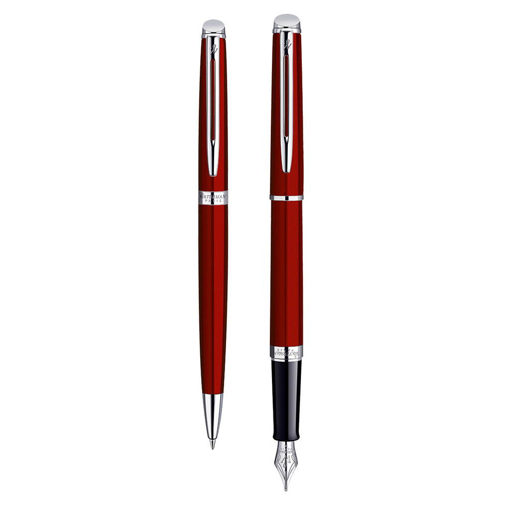 Waterman Hemisphere Red Fountain Pen and Ballpoint Pen Set