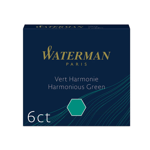 Waterman Green Fountain Pen Mini Cartridges Pack of 6 International Size