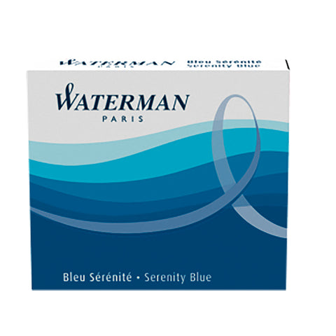 Waterman Short Ink Cartridges Serenity Blue, Pack of 6, For Waterman Fountain Pens