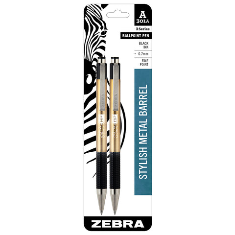 Zebra 301A Ballpoint Pen 0.7MM Fine Point Black Ink Retractable Pack of 2- Brushed Aluminum Barrel
