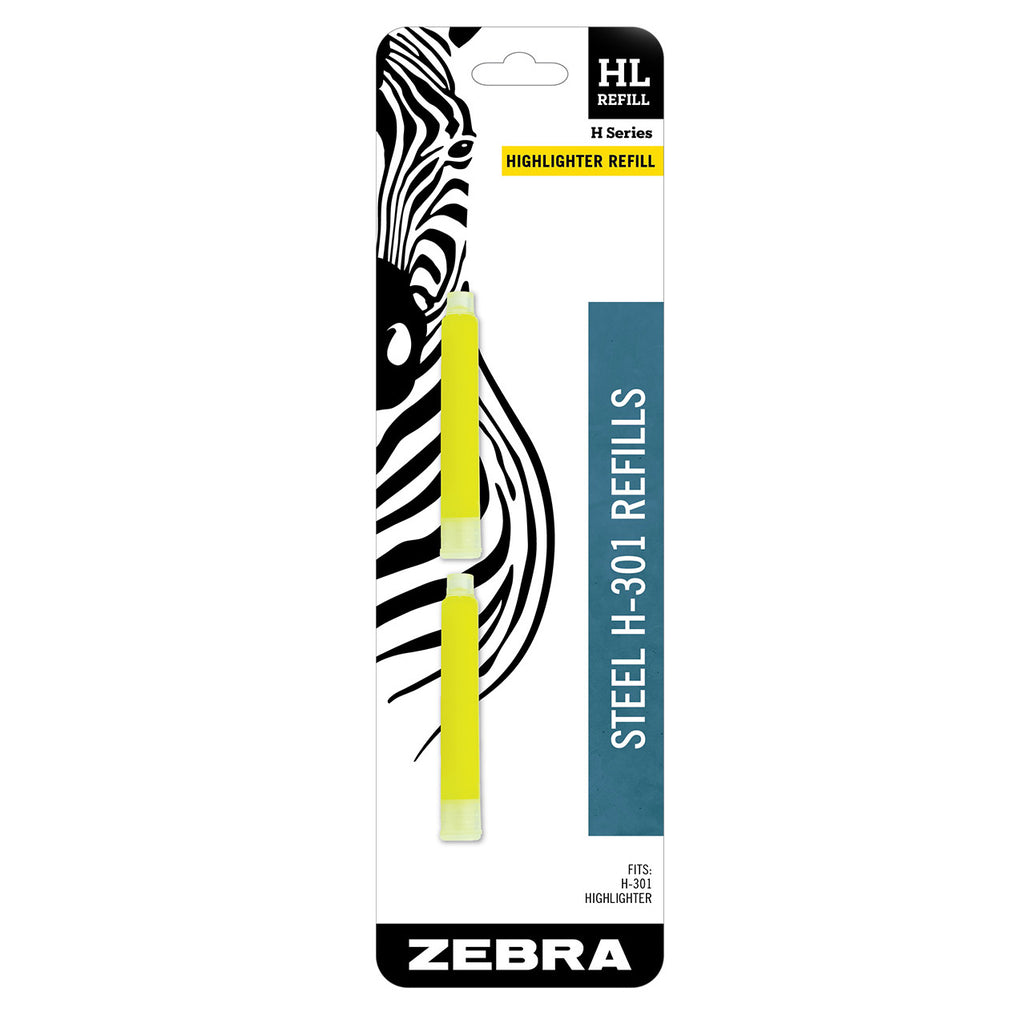 Refill for Zebra H-301 Highlighter, Yellow Pack of 2  Zebra Highlighter Refills
