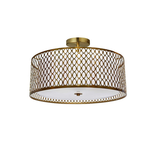 Dainolite 1015-16FH-AGB-WH Kordan 3 Light Aged Brass Semi-Flush Mount with White Shade and Laser Cut Outer