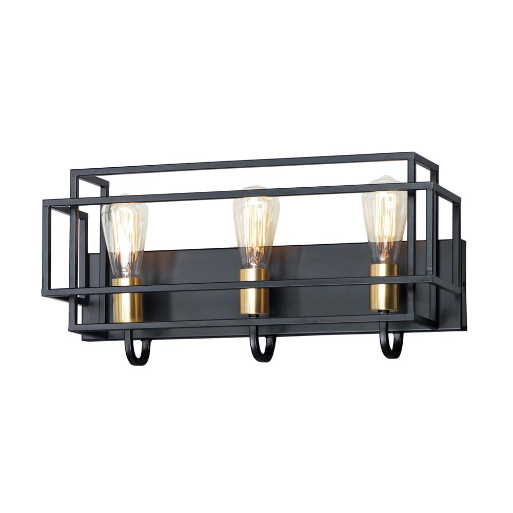 Maxim Lighting 10243BKSBR Liner 3-Light Bath Vanity in Black / Satin Brass
