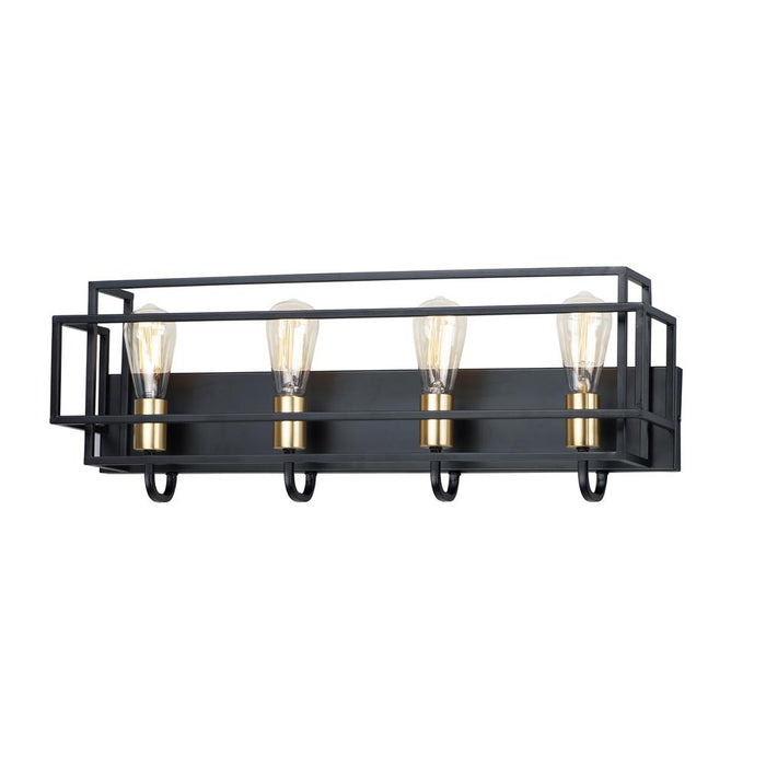 Maxim Lighting 10244BKSBR Liner 4-Light Bath Vanity in Black / Satin Brass