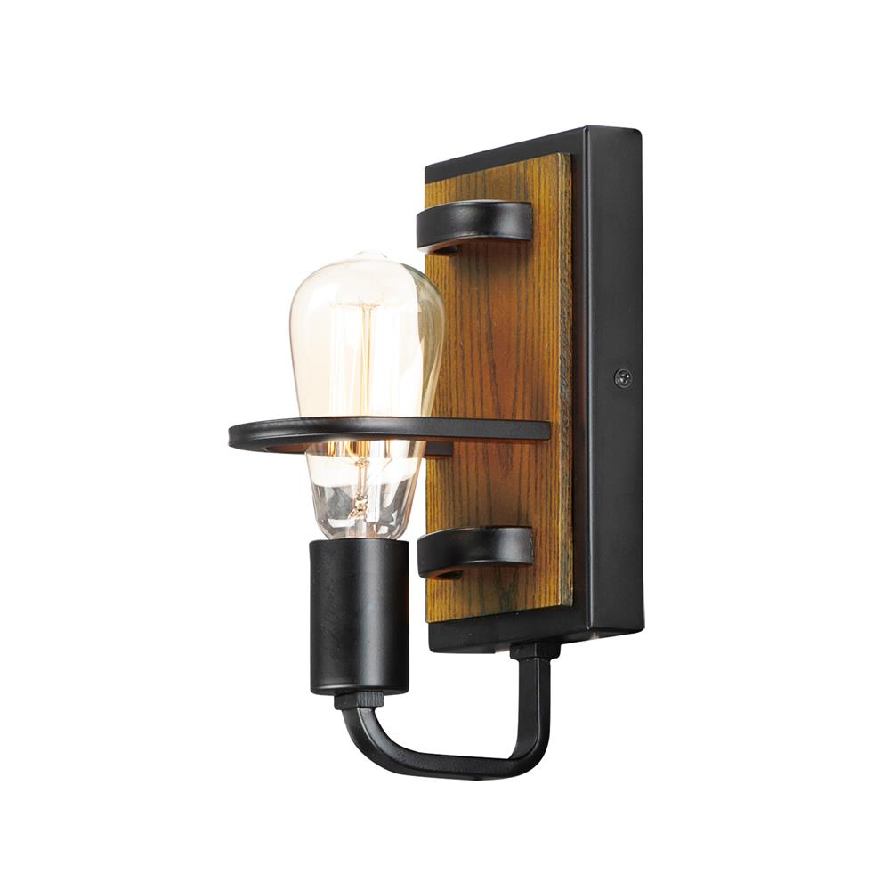 Maxim Lighting 10301BKASB Black Forest 1-Light Wall Sconce in Black / Ashbury