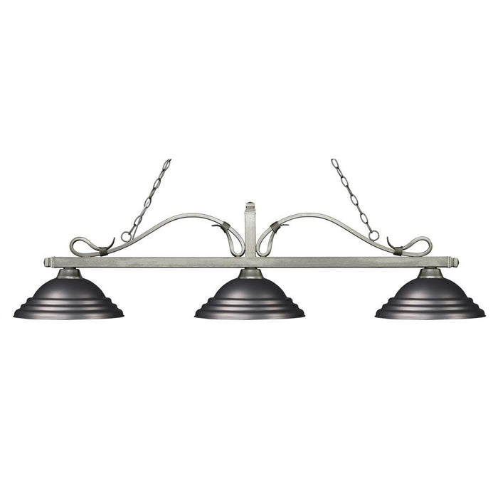 Z-Lite 114-3AS-SOB Melrose 3 Light Billiard Light in Antique Silver