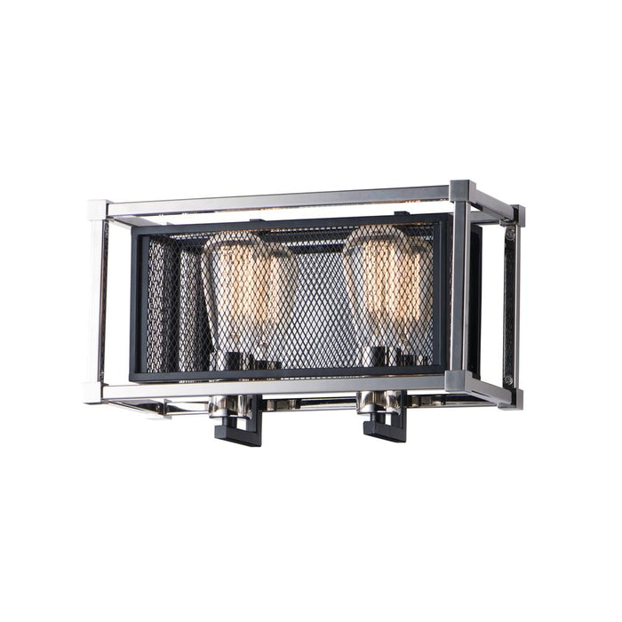 Maxim Lighting 12152BKPN Refine 2-Light Wall Sconce in Black / Polished Nickel