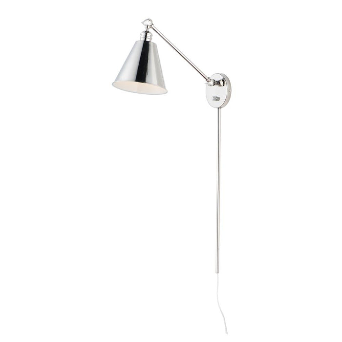 Maxim Lighting 12222PN Library 1-Light Wall Sconce in Polished Nickel